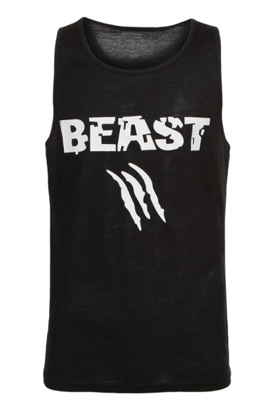 Unisex Fashion Scar Mouth Lips BEAST BEAUTY Letter Print Summer Tank LC466975 фото