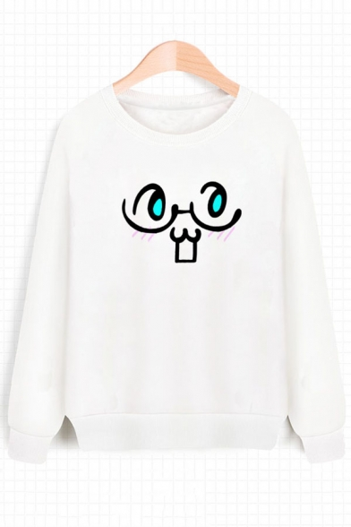 Sweatshirt Pullover Cartoon Sleeves Neck Round Print Long Face Adorable Fw76x8q4Ox