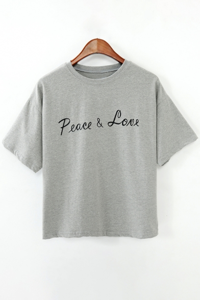 Cropped Round Sleeves Basic Letter Neck Print Tee Short Fashion zw7qR