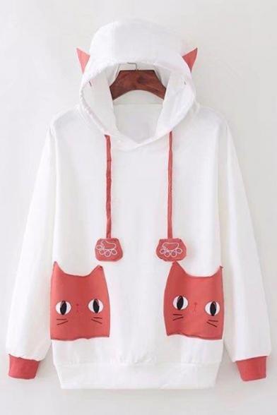 Sleeve Cat's Embellished Pockets Long with Hoodie Cat Pattern Leisure Ears Hood 6rrUwqTX