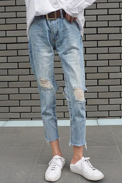 Chic Ripped Broken Hole High Waist Zipper Fly Straight Crop Jeans