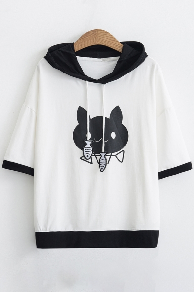 Color Block Cat Printed Short Sleeve Leisure Hooded Tee