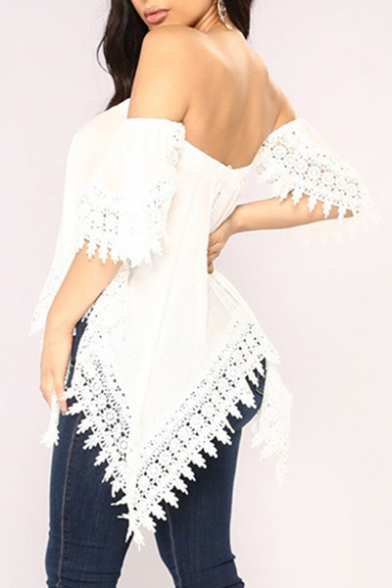 Blouse Shoulder Asymmetric Crochet Hem Plain Detail The Short Off Sleeve fqBzp
