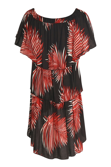 Fancy Plant Leaf Tropical Print Off the Shoulder Dipped Hem Ruffle Detail Layered Dress