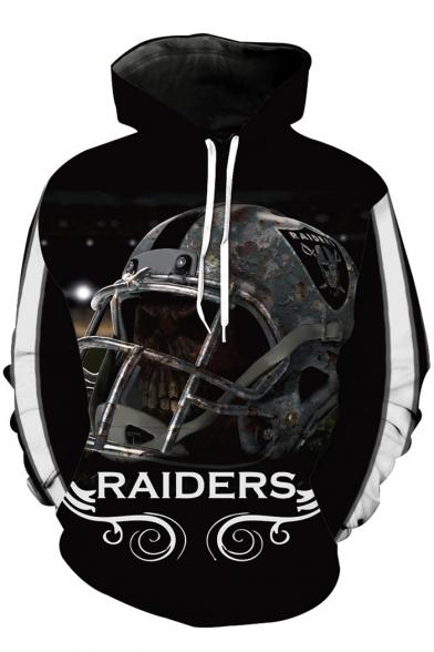 Fine Design Skull Helmet Cartoon Letter Pattern Long Sleeves Pullover Hoodie
