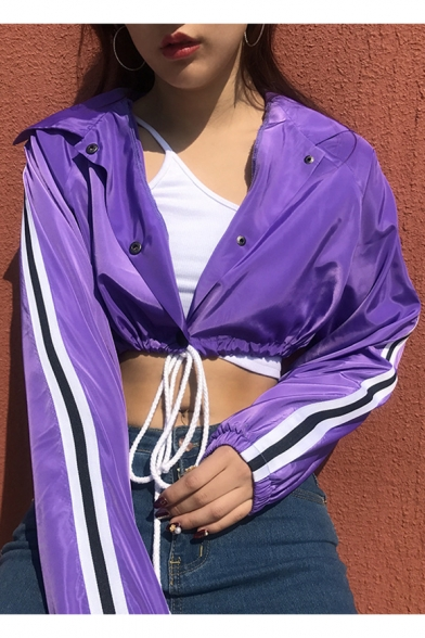 Waist Buttons Collar Drawstring Striped Down Long Style Hop Contrast Lapel Hip Coat Sleeve Cropped qP1fAw