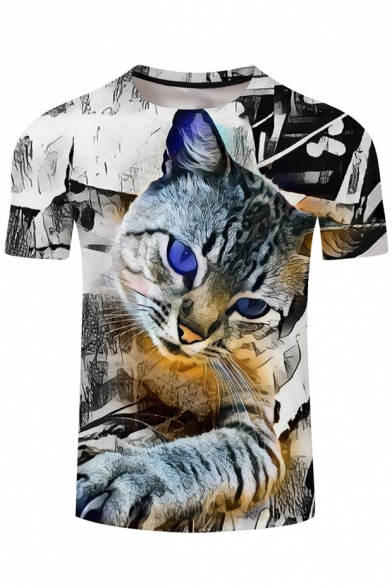 Sleeve Tee Popular Hot Cat Neck Short Digital Printed Round Fww8qd