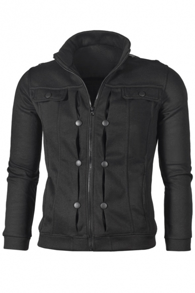 Long Jacket Button Fashion Up Men's Zip Plain High Sleeve Neck Detail YAxwp