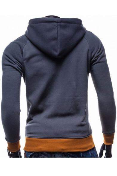 Men's Style Color Block Long Sleeve Slim Fit Zip Up Hoodie
