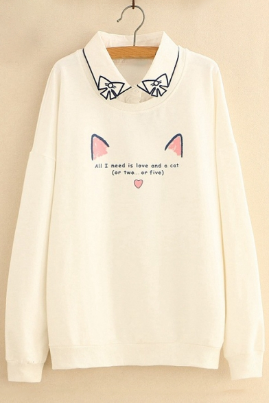 Two Pieces Long Cat Arrival Sweatshirt Fake Ears Pullover Collared New Printed Sleeve Letter w1ERn
