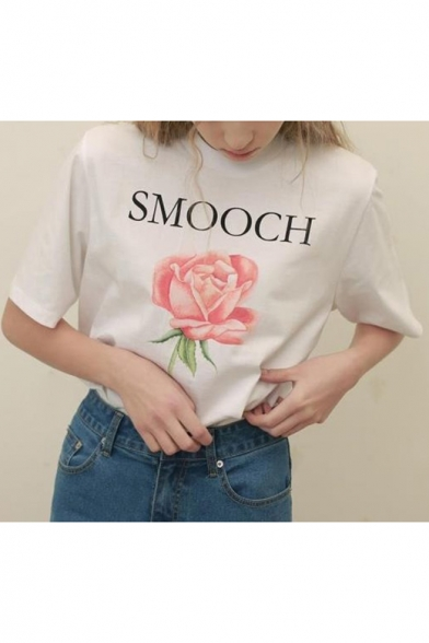 Retro Floral Letter Print Round Neck Short Sleeves Casual Tee