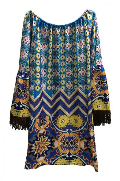the Tribal Dress Sleeve Style Mini Print Tassel Shoulder Retro Off Wide Shift HxEqAIT6w