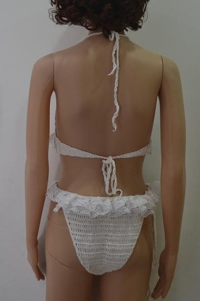 Sexy Stylish Plain Crochet Knitted Halter Neck Ruffle Tassel Detail Bikini