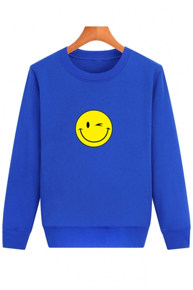 Neck Sweatshirt Printed Long Round Face Pullover Sleeve Smile Simple SAU7I