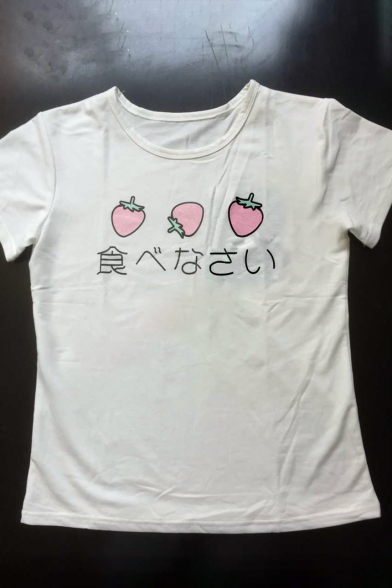 Neck Strawberry Short Round Japanese Casual Print Simple Tee Sleeves OHPBvqww