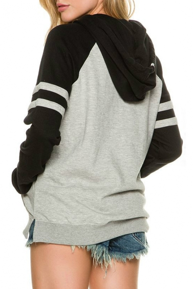 Hoodie Block Color Long Sportive Pocket Side Sleeves Striped Pullover RBvwRx8Pqn