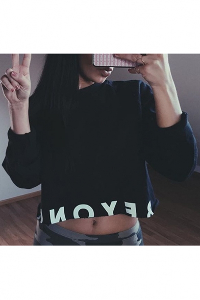 Street Sweatshirt Letter Pattern Round Cropped Neck Long Fashion Sleeves TTxn8vR