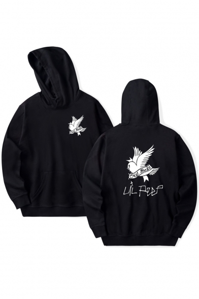 Street Style Bird Letter Printed Long Sleeve Hoodie with Pocket