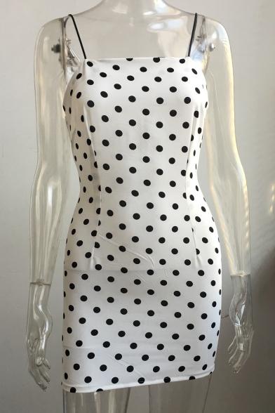 Summer Collection Chic Polka Dot Printed Spaghetti Straps Sleeveless Mini Bodycon Dress