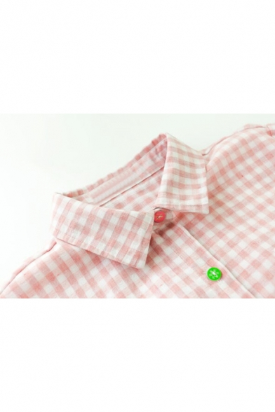 Front Trendy Embroidered Gingham Lapel Plaids Bear Shirt Button BAAYwqgxr