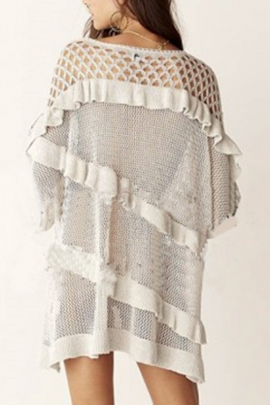 Mesh Summer up Trendy Net Lace V Up Cover Loose Neck Beach Ruffle Detail RCCwIzqx