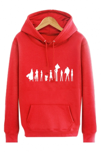 Print Character Pullover Sleeves Long with Unique Pocket Hoodie Cartoon ZHqwFHgS