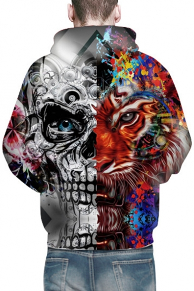 Unique Tiger Skull Print Long Sleeves Pullover Unisex Hoodie