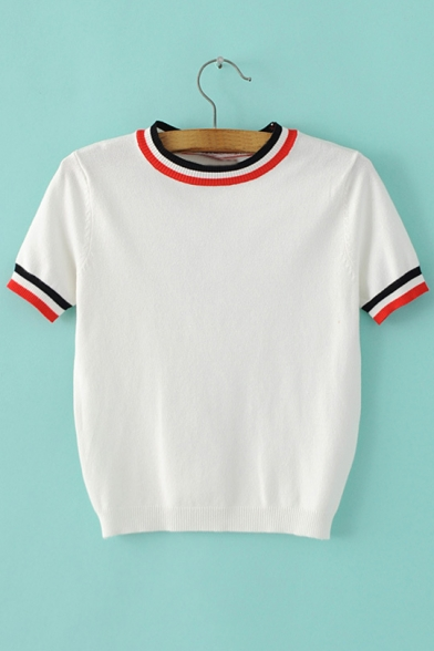 Neck Striped Women's Short Trim Stylish Sweater Cropped Sleeve Round wI6S7q6
