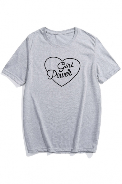 Letter Heart Short Printed Sleeve Basic Neck Tee Graphic Round 5aqpUndw