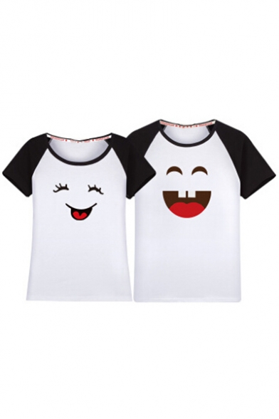 Cartoon Raglan Face Leisure Sleeve Tee Smile Couple for Color Short Neck Printed Block Round qTR15WwI