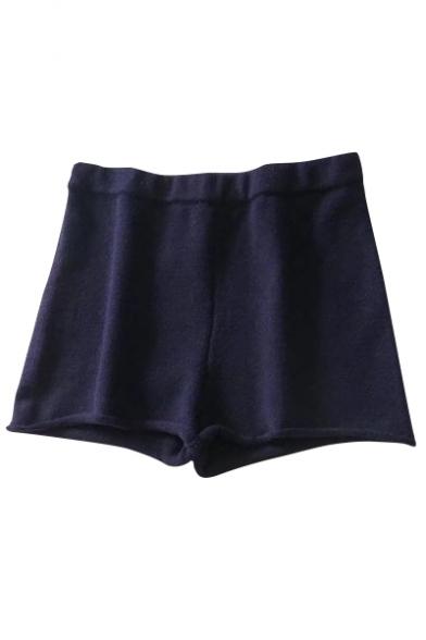 Comfort Plain Leisure Roll Hem Elastic High Waist Shorts