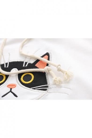 Cute Cartoon Cat Embroidered Short Sleeve Leisure Hooded Tee
