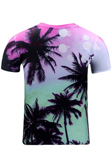Printed Tree Sleeve Leisure Neck Round Digital Short Tee Coconut vqFCRR
