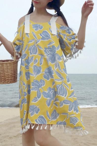 Elegant Cold Shoulder Floral Print Half Sleeve Tassel Detail Mini Swing Dress