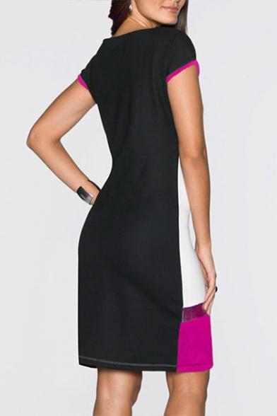 Elegant Sequined Patchwork Color Block Round Neck Short Sleeve Mini T-shirt Dress