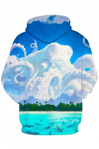 Long Print Sleeves Fabulous Octopus Cloud Shark Hoodie Pullover 8BIRSq