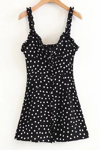 Fancy Polka Dot Print Spaghetti Straps Ruffle Detail Button Front Mini Cami Dress