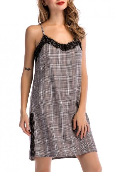 Mini Inset Straps Plaids Cami Fashion Dress Tartan Spaghetti Lace Hot Detail Button pBwH6xqc