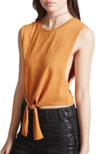 Leisure Round Neck Sleeveless Bow Tie Front Cropped Summer Tank Top