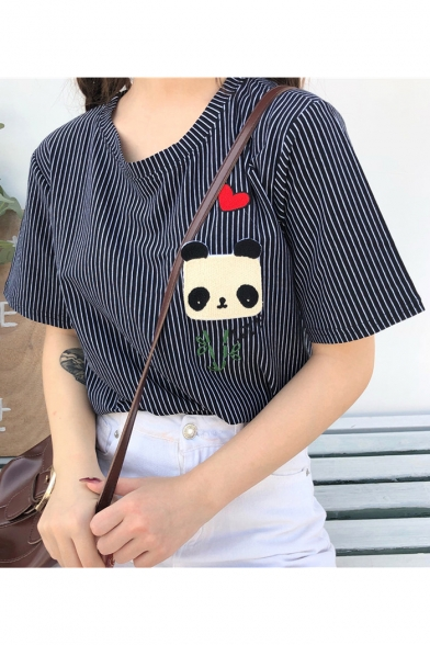 Round Sleeve Panda Printed Neck Patched Embroidered Striped Heart Tee Short txxwqaRf