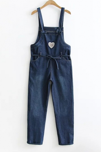 Pop Fashion Sweetheart Embroidery Bow Belted Pocket Detail Overall Denim Jumpsuit