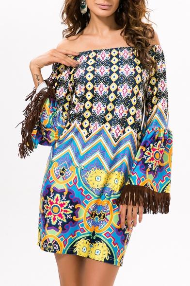 Retro Style Off the Shoulder Tribal Print Wide Tassel Sleeve Shift Mini Dress