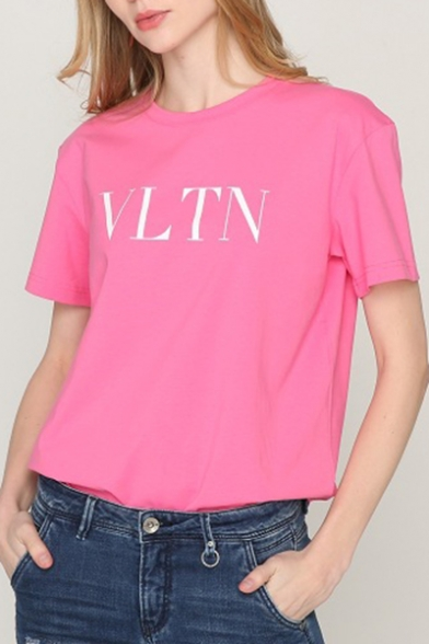 T Round Letter Simple Pattern shirt Neck Sleeves Short Summer ZTvqUCw