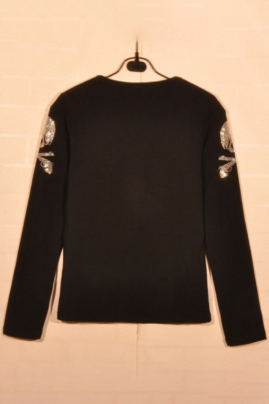 Diamante Gun Neck Sweatshirt Round Printed Embellished Pullover Skull Long Sleeve EZOxAqE