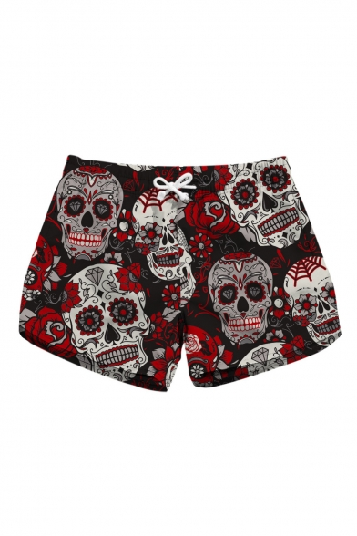 Summer Collection Skull Floral Printed Drawstring Waist Shorts with Pockets