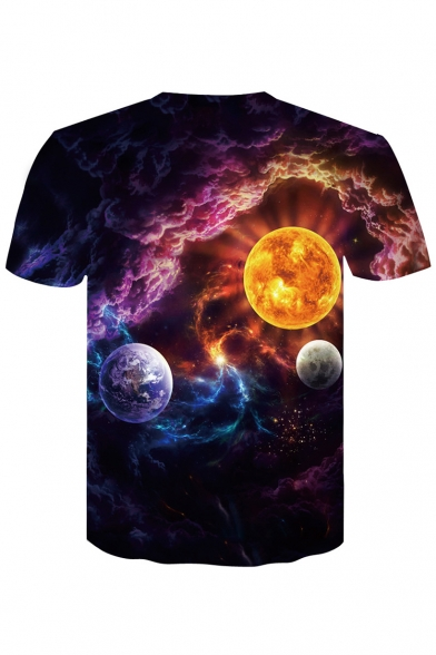 Casual Round Sleeves Print Short Top Sale Neck Tee Planet Galaxy qxxfwgT