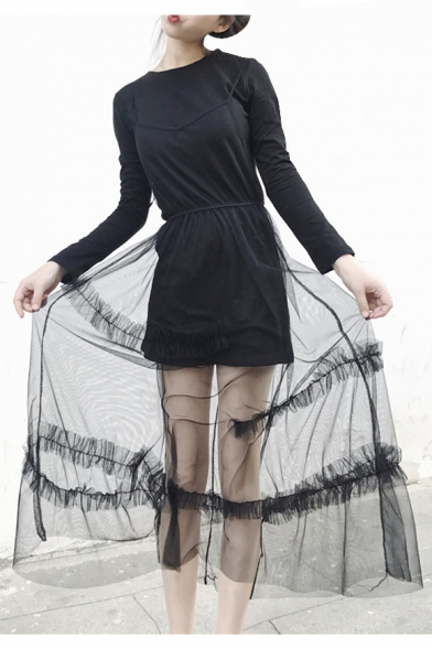 Two Pieces Sheer Mesh Patchwork Round Neck Long Sleeve Maxi T-Shirt Dress
