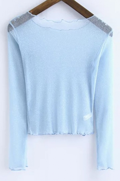 Tee Sleeve Pullover Cropped Through See Neck Unique Boat Long Plain qIvgzg