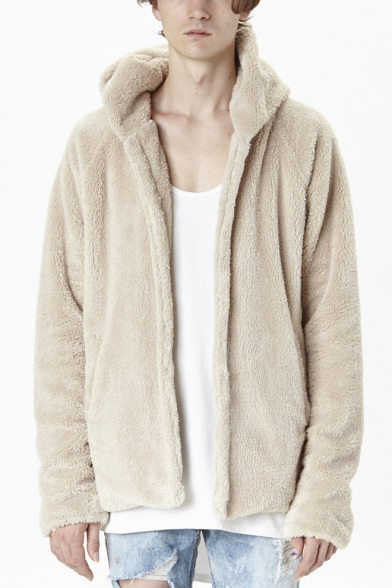 Winter's Warm Lambswool Plain Long Sleeve Split Side Hooded Coat
