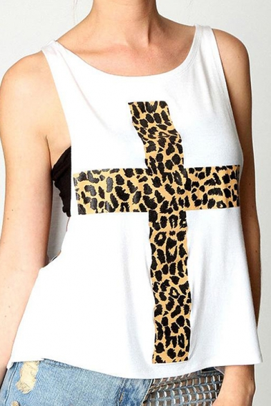 Loose Neck Fashion with Cross Round Bandeau Women's Tank Print Plain Leopard wpHYqdXB